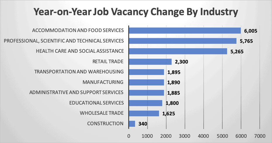 Year on Year Job Vacancy Change By Industry